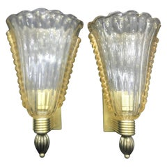 Vintage Pair of Murano Glass and Brass Wall Sconces, circa 1950