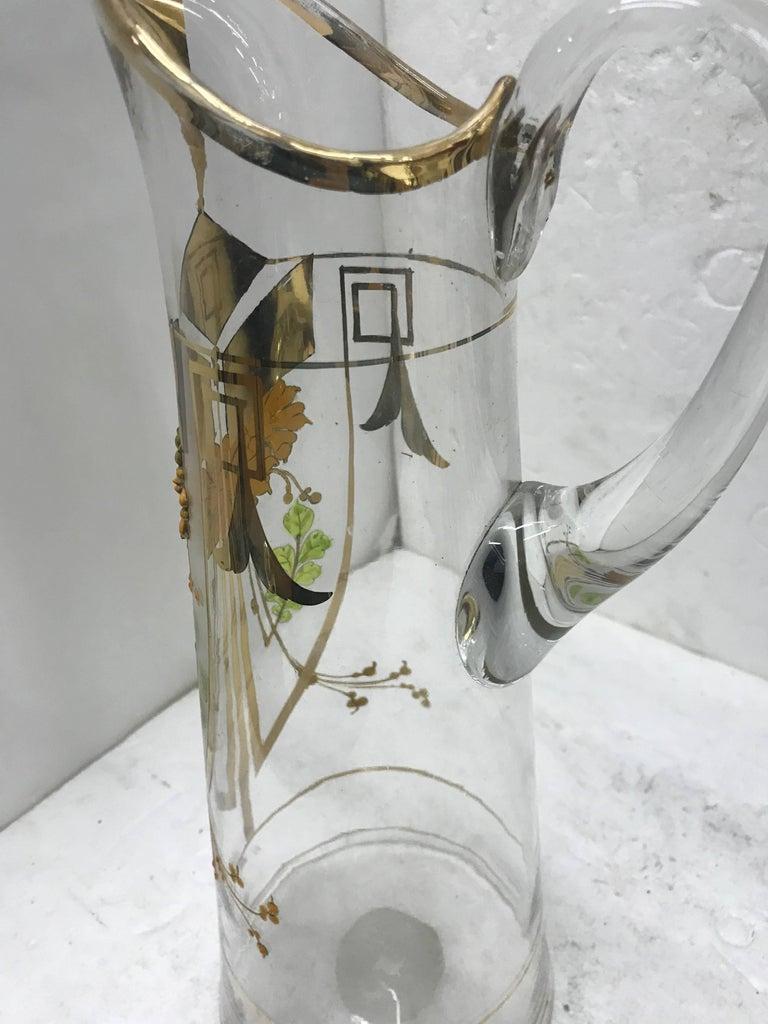 Early 20th Century Italian Art Nouveau Glass Jug, circa 1900 For Sale