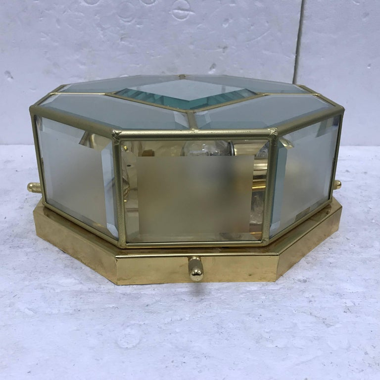 Amazing octagonal four lights ceiling with cut and frosted glass, made in Italy, circa 1960.