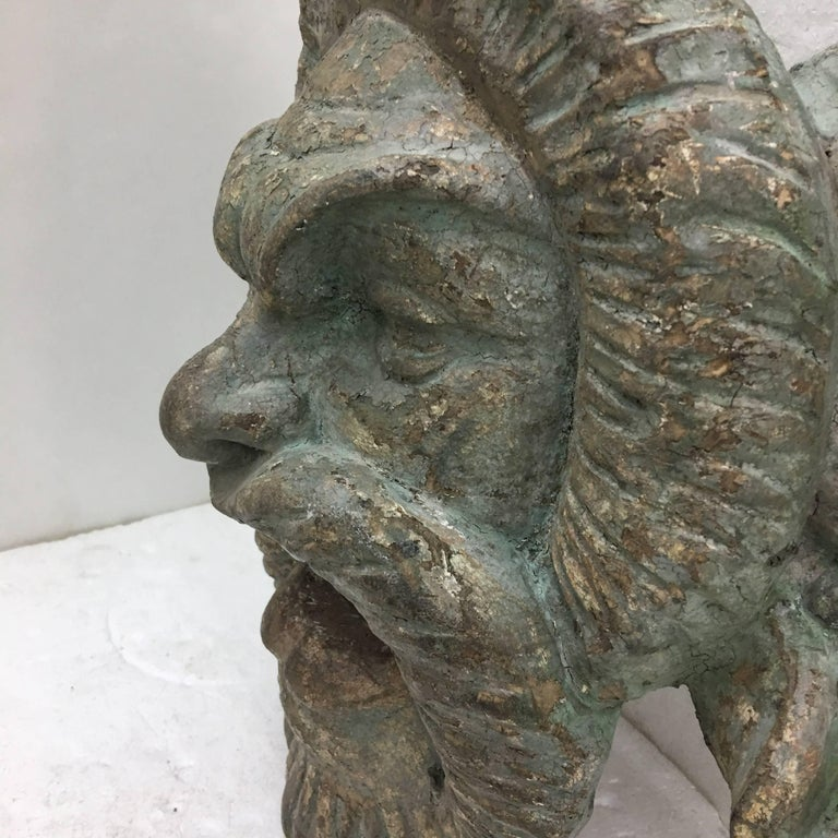 Other Italian Light Green Painted Wood Old Satyr Mask, circa 1900 For Sale