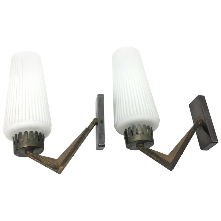 Mid-Century Modern Wall Sconces, Italy, circa 1950 For Sale