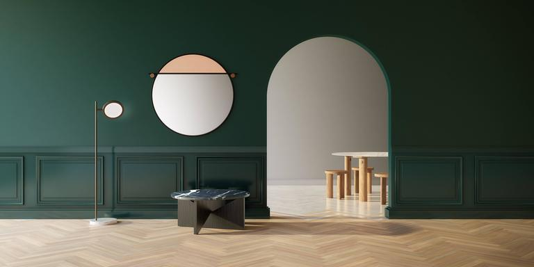 American Modern Abal Round Mirror by Studio Matter Made For Sale