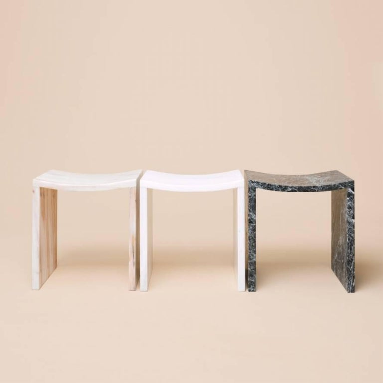 Greek Bent Stool by Objects of Common Interest, Solid Marble For Sale