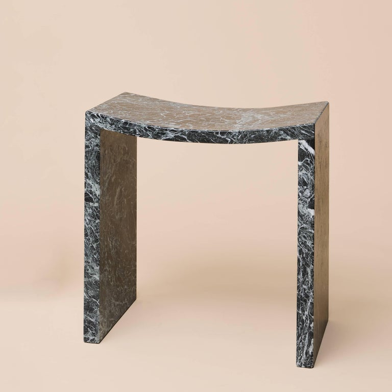 Hand-Carved Bent Stool by Objects of Common Interest, Solid Marble For Sale