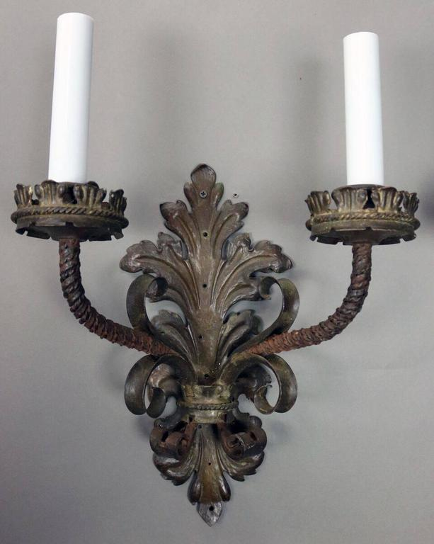 Spanish Iron Wall Sconces : Pair of Oversized Antique Spanish Wrought Iron Two-Light Wall Sconces at 1stdibs
