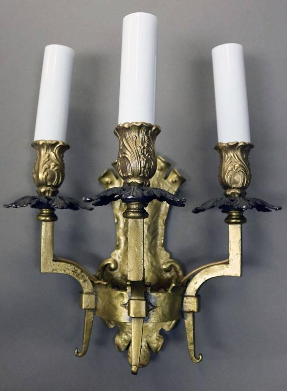 Gothic Style Wall Sconces : Pair of Antique Arts and Crafts Gothic Style Brass Three-Light Wall Sconces For Sale at 1stdibs