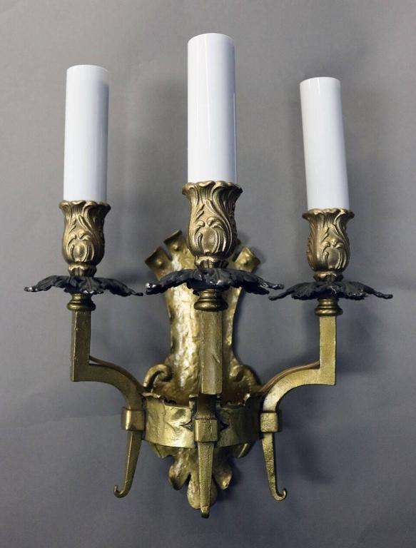 Antique Gothic Wall Sconces : Pair of Antique Arts and Crafts Gothic Style Brass Three-Light Wall Sconces For Sale at 1stdibs