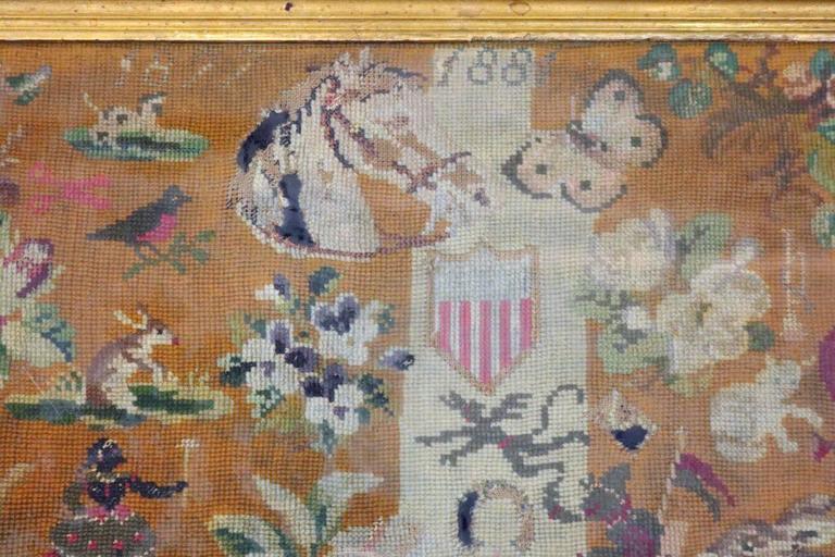 Antique Folk Art Needlepoint With Americana Patriotic