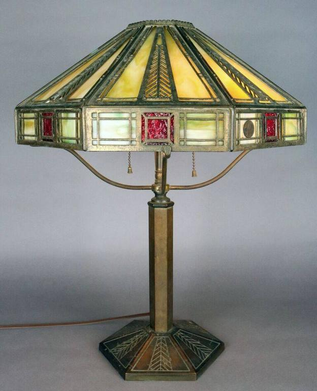 Bradley And Hubbard Arts And Crafts Slag Glass Lamp With