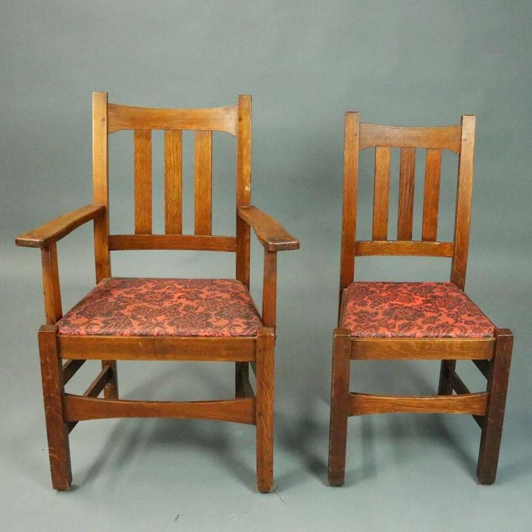Antique Set Of Six Stickley Brothers Arts And Crafts Mission Oak Dining Chairs Features Traditional