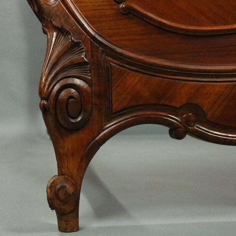 Antique french rococo style carved mahogany and kingwood