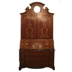 Antique Continental Hand-Painted Venetian Gilt Drop Front Secretary