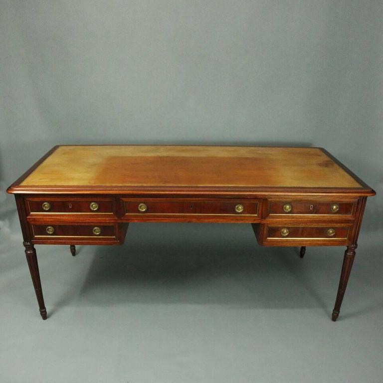 Antique English Sheraton writing desk features mahogany construction  including large leather writing surface with two pull - Antique English Sheraton Mahogany And Bronze Writing Desk, 19th