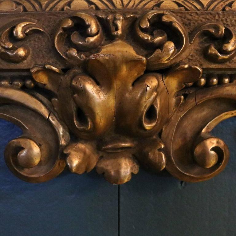 Oversized Antique French Gilt Overmantel Pediment Mirror, circa 1890 In Good Condition For Sale In Big Flats, NY