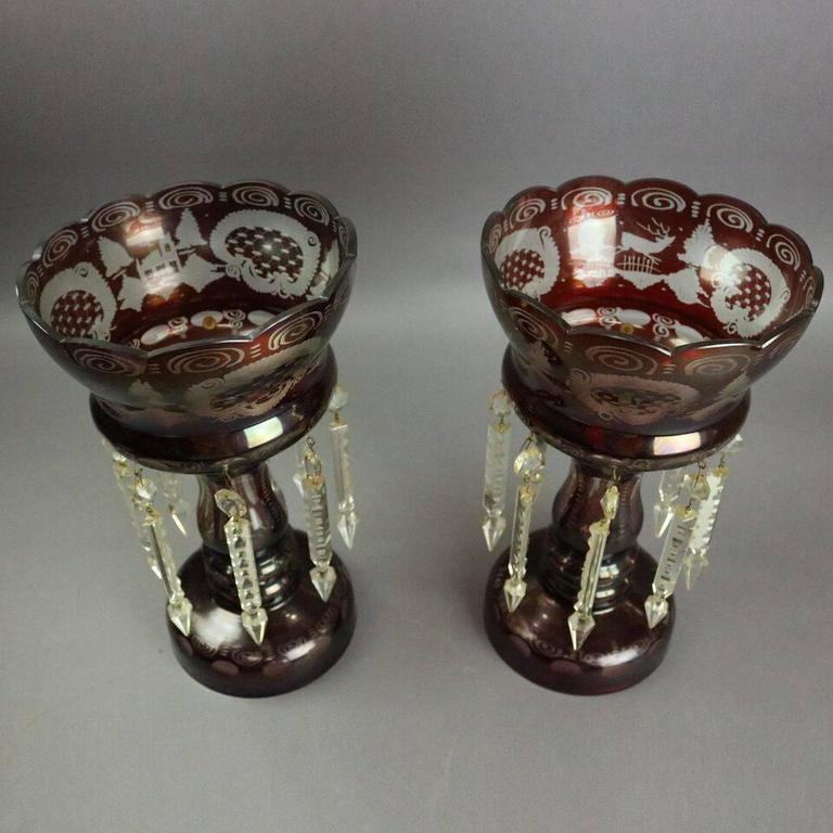 Antique Pair Bohemian Ruby Cut To Clear Mantel Lusters