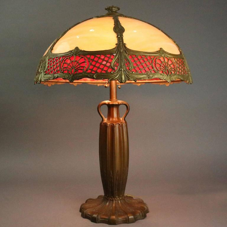 Antique Arts And Crafts Royal Lamp Co Slag Glass And