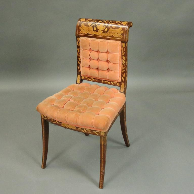 Dutch Marquetry Upholstered Mahogany Side Chair With