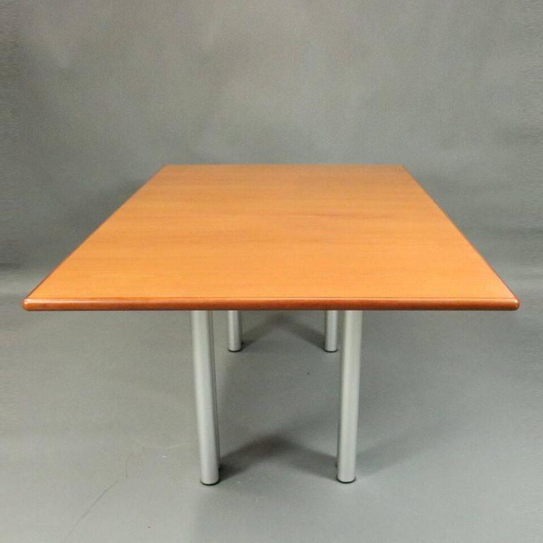 Teak Wood Dining Table White Powder Coated Legs White: Mid-Century Modern Knoll Teakwood And Aluminum Dining