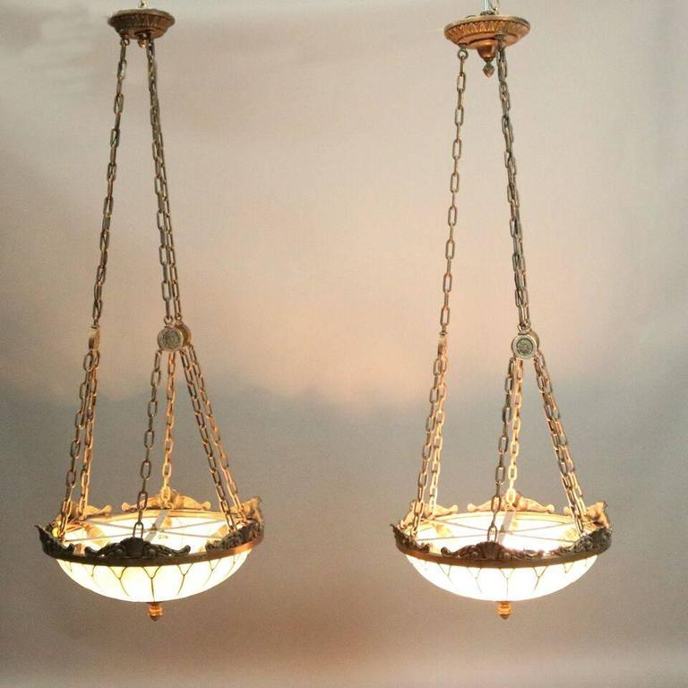 Fresh Pair of Antique Arts and Crafts Leaded Glass and Bronze Hanging  QB29
