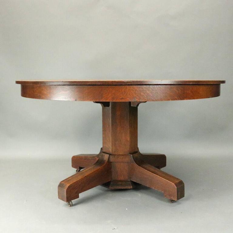 Stickley Dining Room: Antique Stickley Bros. Arts And Crafts Mission Oak Round