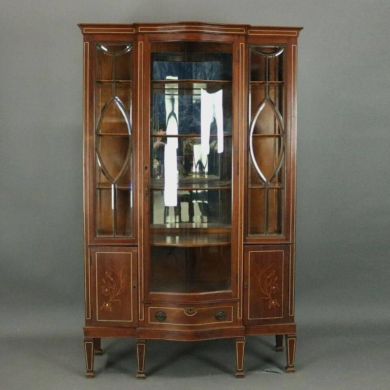 Antique Mahogany Edwardian Mirror Back China Cabinet Features Centre  Serpentine Glass Door Flanked By Leaded