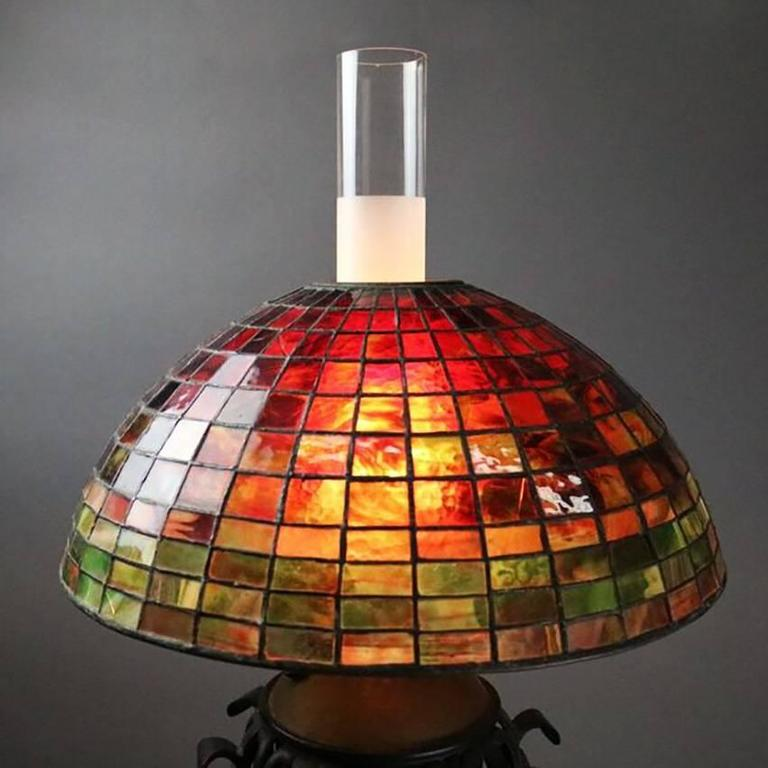 Arts & Crafts Bradley Hubbard Style Leaded Glass and Iron Table Lamp, circa 1910 2