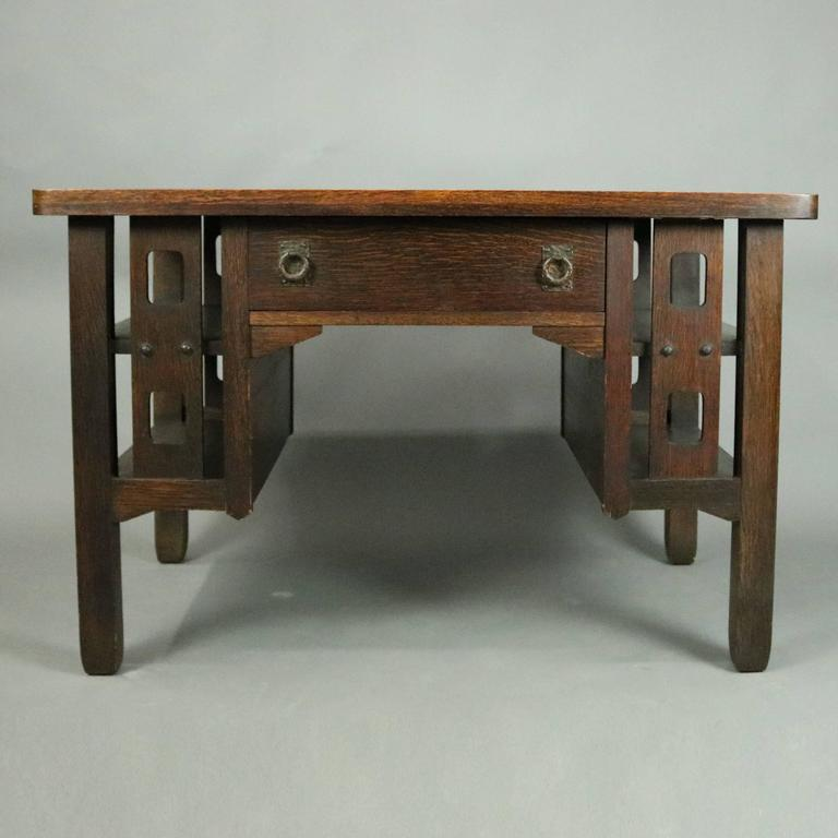 Antique Arts & Crafts Stickley Brothers school mission oak library  table features single drawer with - Arts And Crafts Stickley Bros. School Mission Oak Library Table