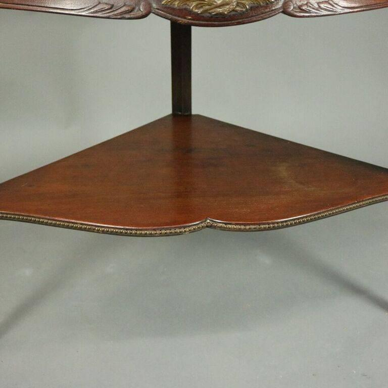 Antique French Style Horner Bros Mahogany and Bronze Bowed Corner Cabinet 4