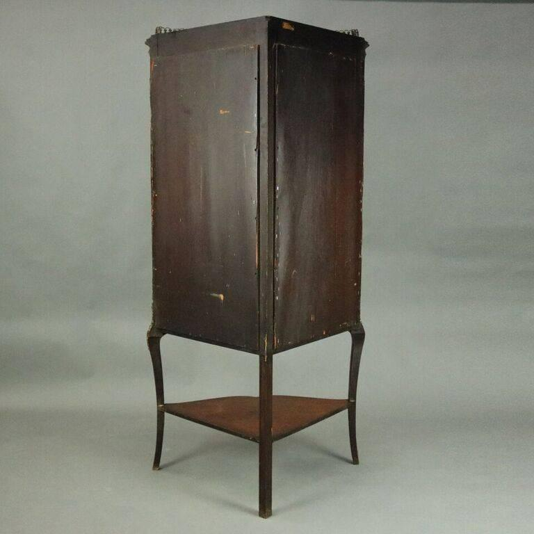American Antique French Style Horner Bros Mahogany and Bronze Bowed Corner Cabinet
