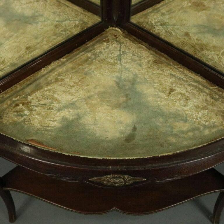 Antique French Style Horner Bros Mahogany and Bronze Bowed Corner Cabinet 1