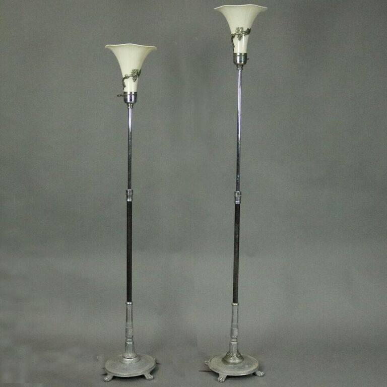 Pair Of Antique French Art Nouveau Torchiere Floor Lamps