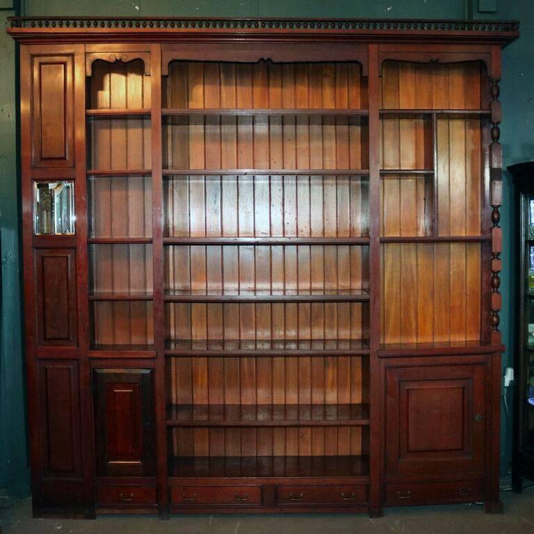 Architectural Cherry Built-In Bookcase with Stick and Ball ...