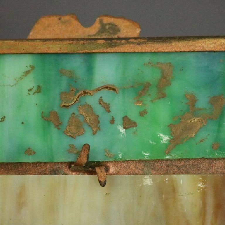 Antique Arts & Crafts Miller Co. Slag Glass Filigree Lamp, Countryside Scene 9