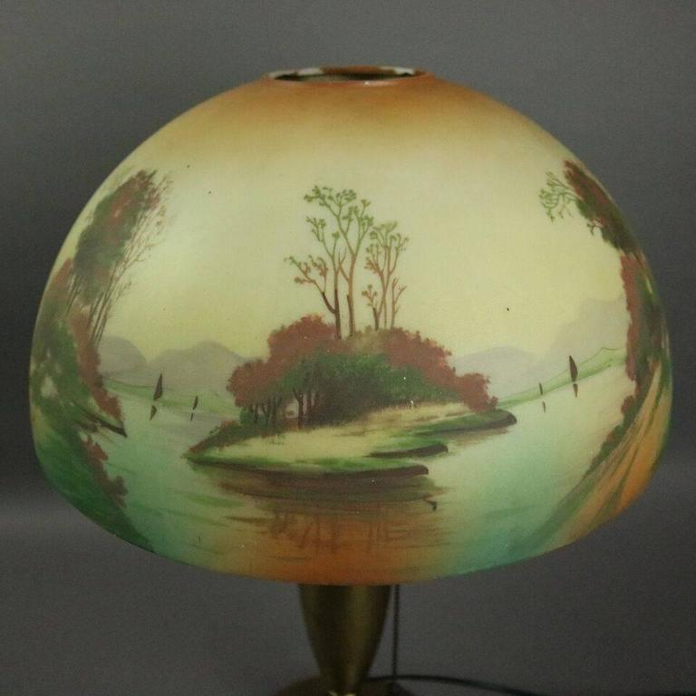 Antique Pittsburgh Brass and Obverse Painted Table Lamp, Lake Scene, circa 1920 For Sale 4