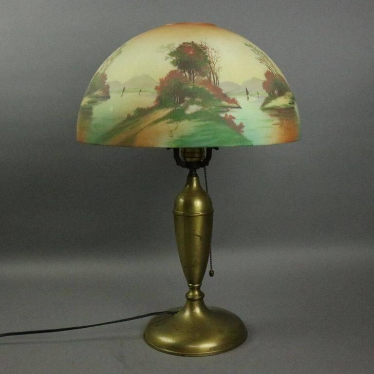 Antique Pittsburgh Brass and Obverse Painted Table Lamp, Lake Scene, circa 1920 For Sale 3