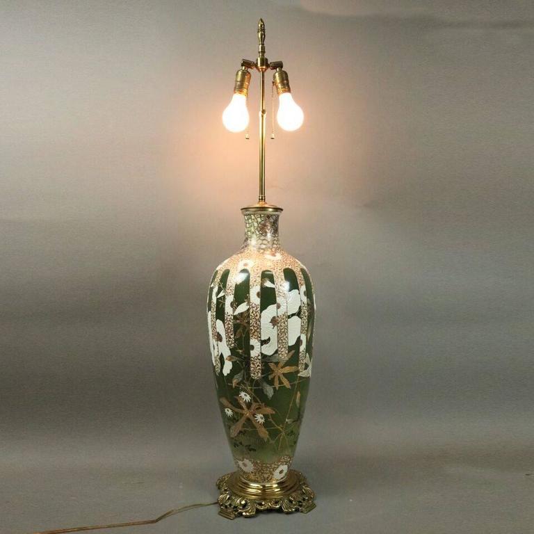 Oversized Antique Japanese Meiji Satsuma Art Pottery Lamp Base, circa 1900 For Sale 2