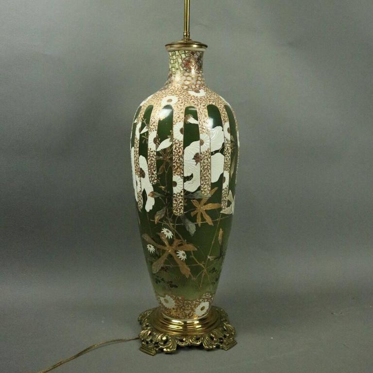 20th Century Oversized Antique Japanese Meiji Satsuma Art Pottery Lamp Base, circa 1900 For Sale