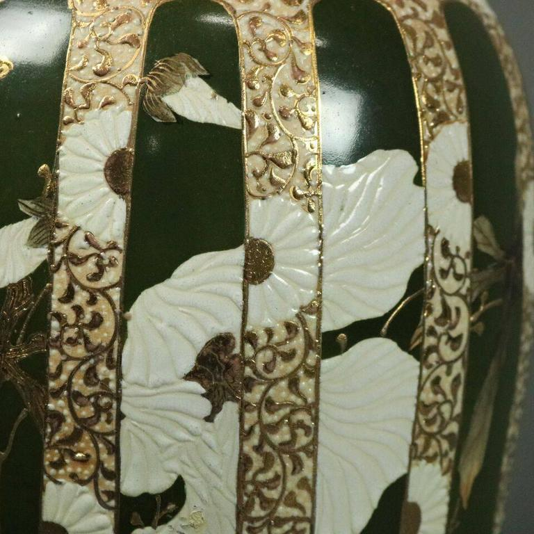 Oversized Antique Japanese Meiji Satsuma Art Pottery Lamp Base, circa 1900 In Good Condition For Sale In Big Flats, NY