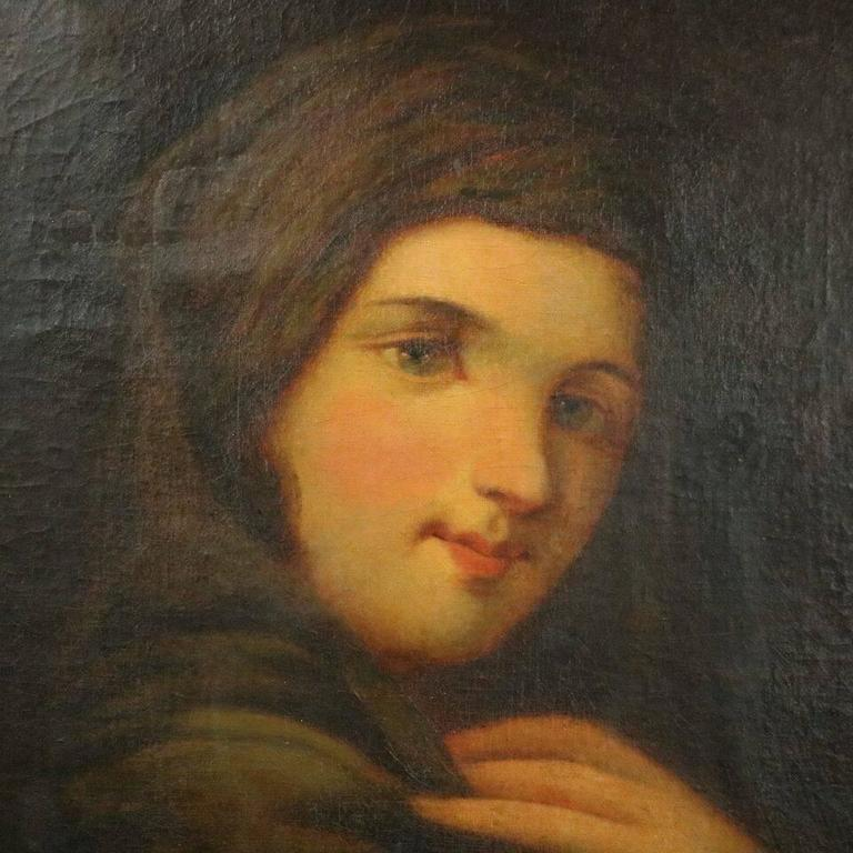 Antique oil on canvas painting of Dutch maiden in giltwood surround, unsigned, 19th century.