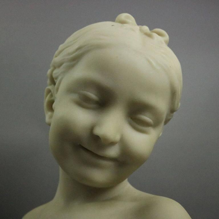 Vintage French Carved Alabaster Figural Bust Of A Young
