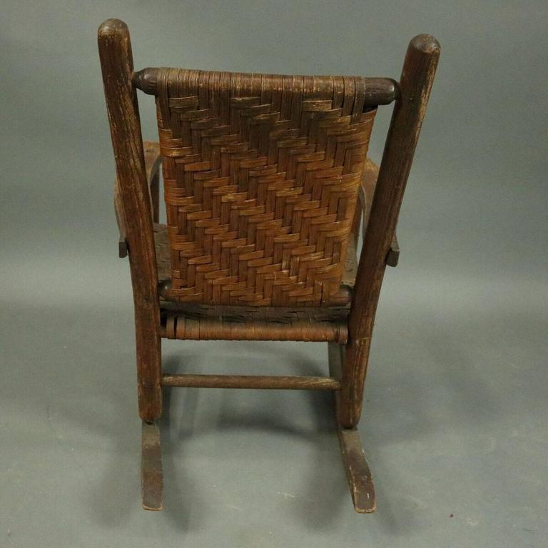 1980s American Furniture Baby Rocking Chair: Antique Old Hickory Adirondack Style Child's Rocker, Circa