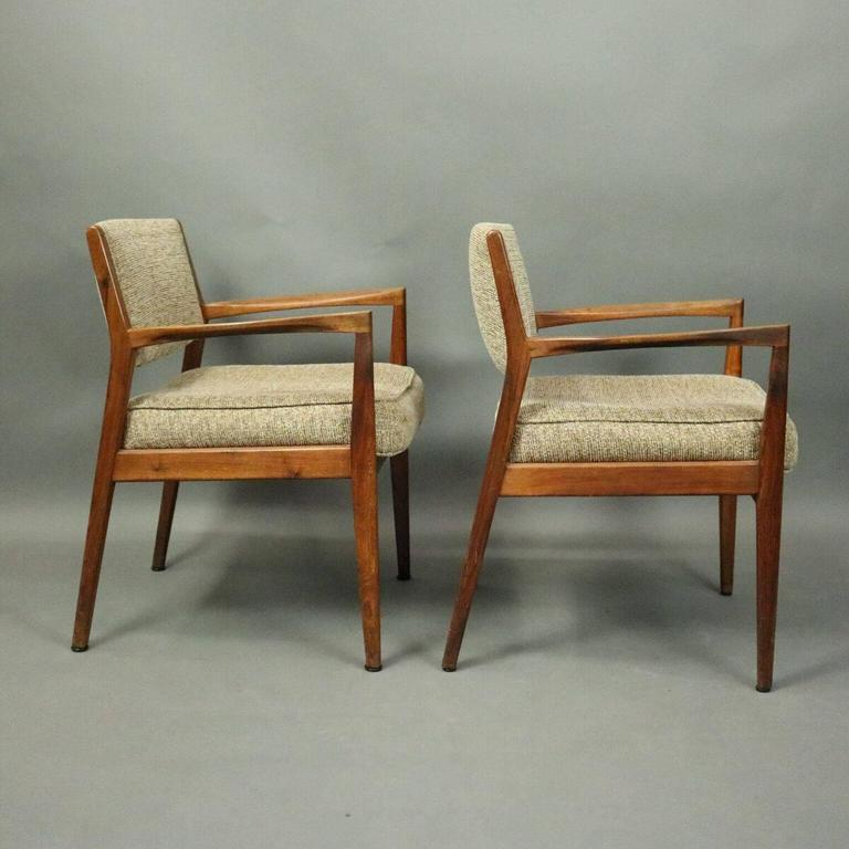 Pair Of Mid Century Danish Modern Armchairs Feature Teak Construction,  Upholstered Seat And Back