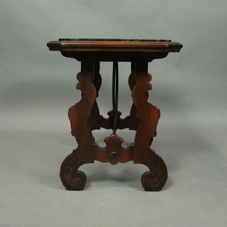 Vintage continental mahogany wrought iron and marble for Marble and wrought iron coffee table