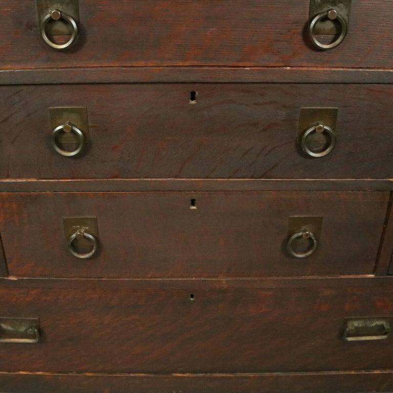 Antique Arts And Crafts Mission Oak Stickley Bros Mirror