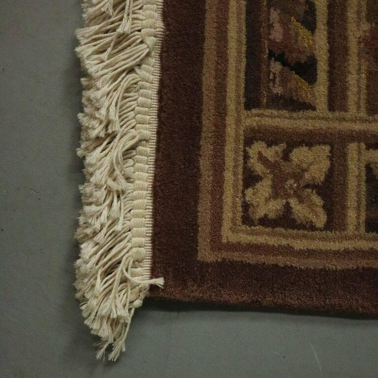 Vintage French Aubusson Style Hand Knotted Oriental Rug