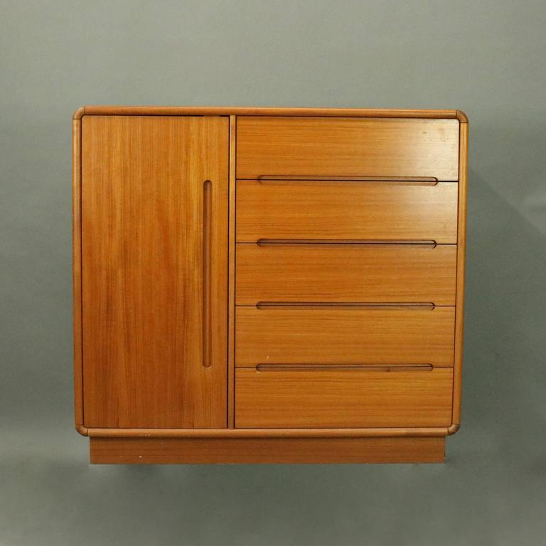 Pair Of Vintage Mid Century Danish Modern Heywood Wakefield School Cabinets Feature Five Outer Drawers