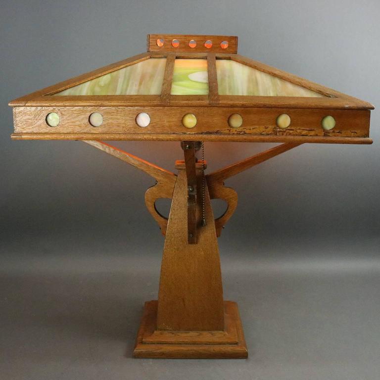 b52859e6d6b06 ... Mission Oak Slag Glass Lamp 1910 For Sale. Oversized antique Arts    Crafts Prairie School table lamp by Peterson Art Furniture Co.