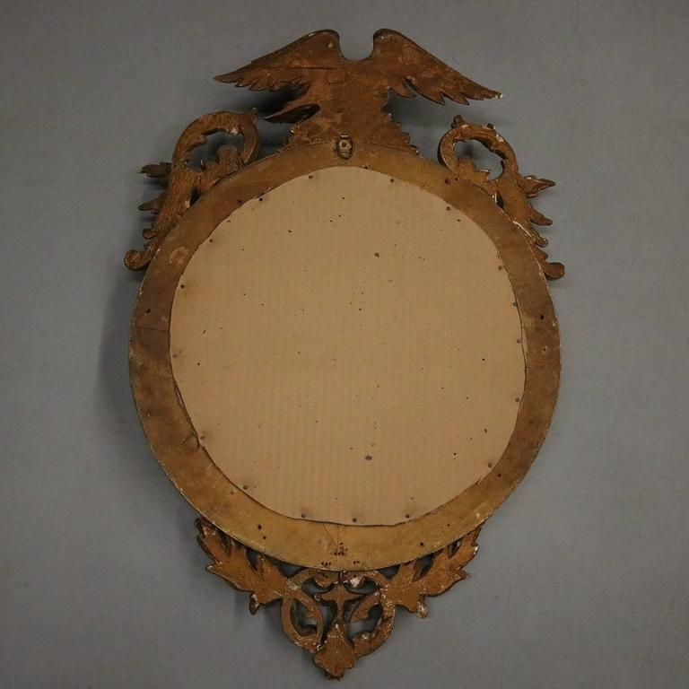 Antique Federal Gilt Bullseye Gilt Mirror With Eagle