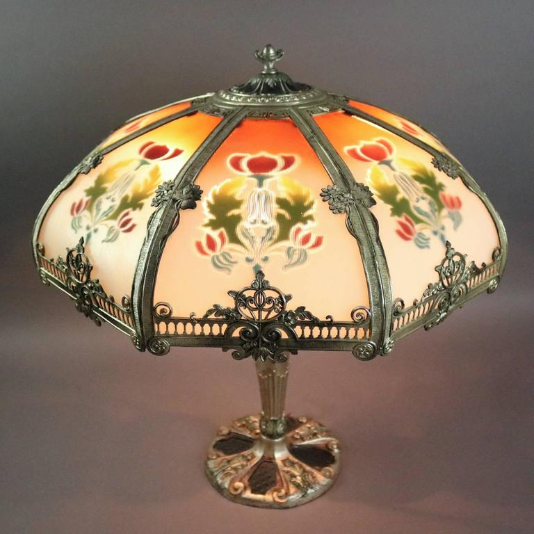 Antique Reverse Panel Lamp With Filigree Shade And
