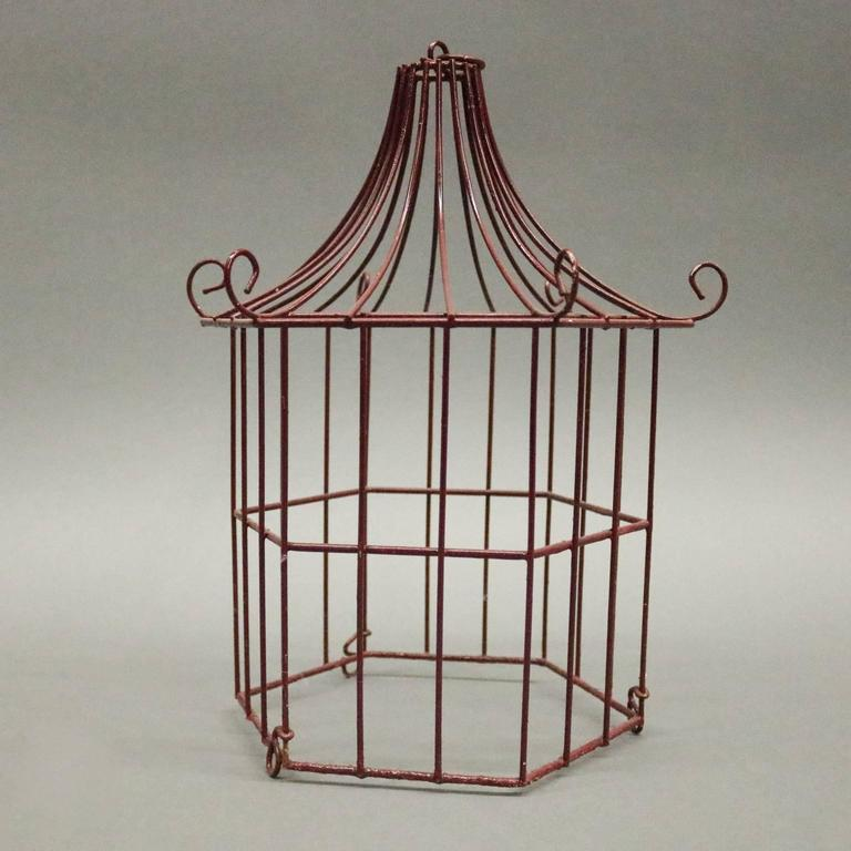 Pair of Vintage French Chinoiserie Pagoda Bird Cage Display Cabinets, circa 1940 5